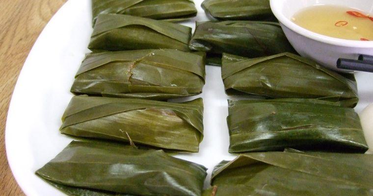 Bánh bột lọc tôm thịt gói lá chuối – Steamed pork & shrimp tapioca dumpling