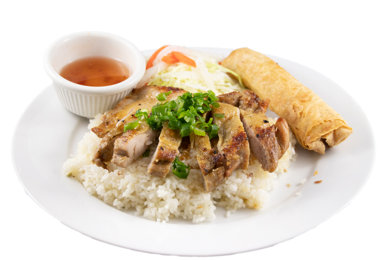 Bún / Cơm  gà nướng chả giò – Barbequed chicken and spring roll with rice or noodle
