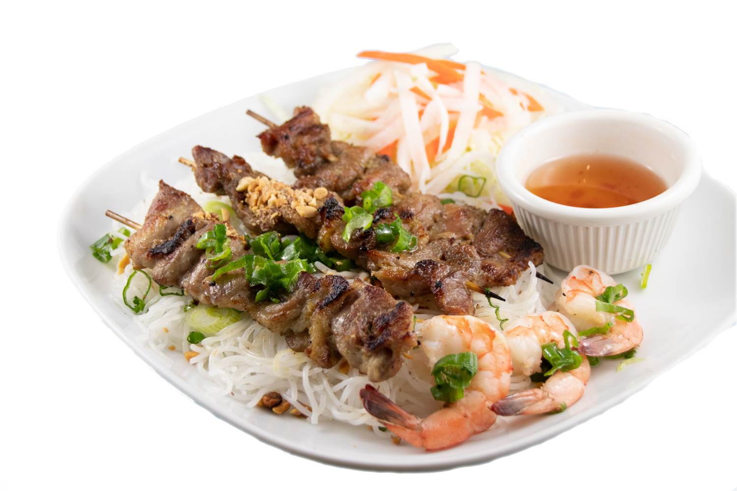 Bún tôm thịt nướng – Barbequed pork skewer and prawn with noodle