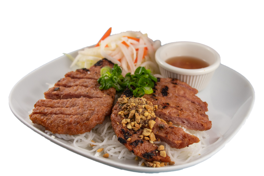 Bún nem nướng – Barbequed minced pork with rice noodles