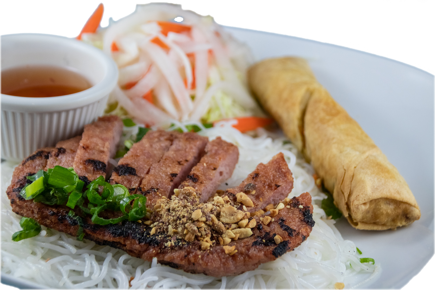 Bún nem nướng chả giò – Barbequed minced pork and spring roll  with rice noodles