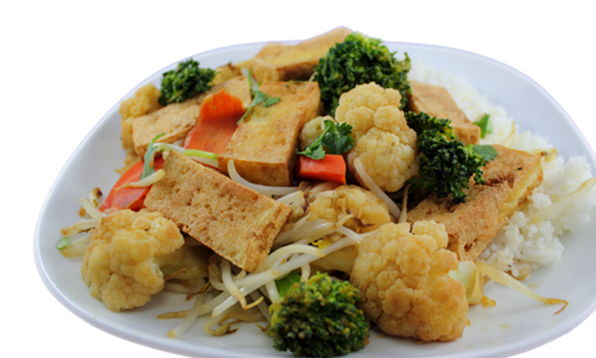 Cơm rau xào đậu hũ – Seasonal vegetable and crispy  tofu stir-fry