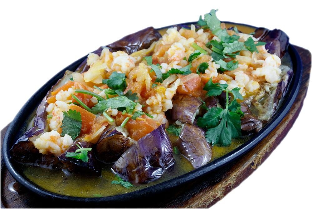 Cà tím nướng sốt tôm – Grilled eggplant with minced shrimp sauce