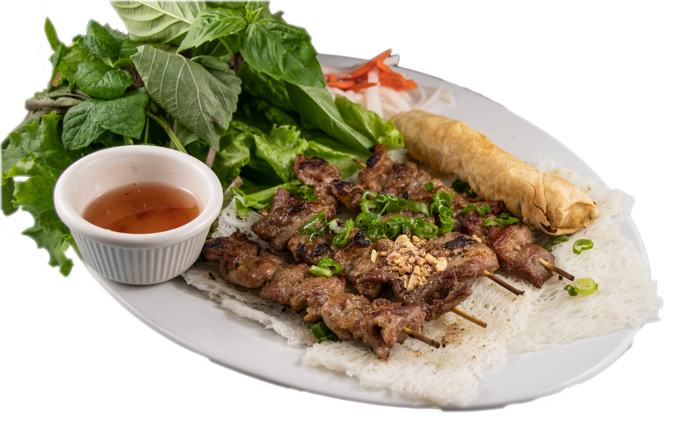 Bánh hỏi thịt nướng,chả giò rau sống  – Grilled pork on a skewer, a spring roll with special  Vietnamese woven fine rice noodle bundles