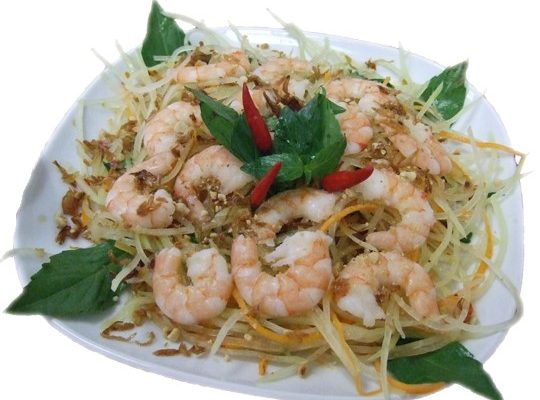 Gỏi tôm , Đu Đủ Xanh – Tiger prawn and green papaya salad